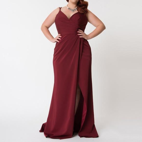 Unique Vintage Plus Size Burgundy Gown Size 18 NWT